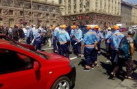 Уволенные парковщики перекрыли Крещатик в Киеве