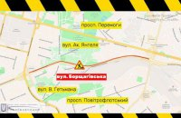 Движение транспорта на Борщаговской в Киеве ограничили на полгода