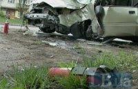 У Києві легковий автомобіль загорівся після ДТП
