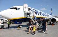 Ryanair более чем вдвое увеличил количество направлений и рейсов из Украины за год