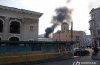 Вблизи Контрактовой площади в Киеве загорелось заброшенное здание
