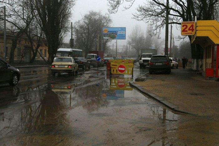 Прорыв водопровода в Одессе