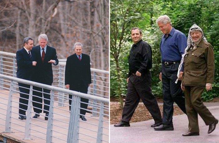 Слева: Израильско-сирийские переговоры в Шепердстауне, 2000. Справа: Президент США Билл Клинтон с Эхудом Бараком и Ясером Арафатом на саммите в Кэмп-Дэвиде, 2000.