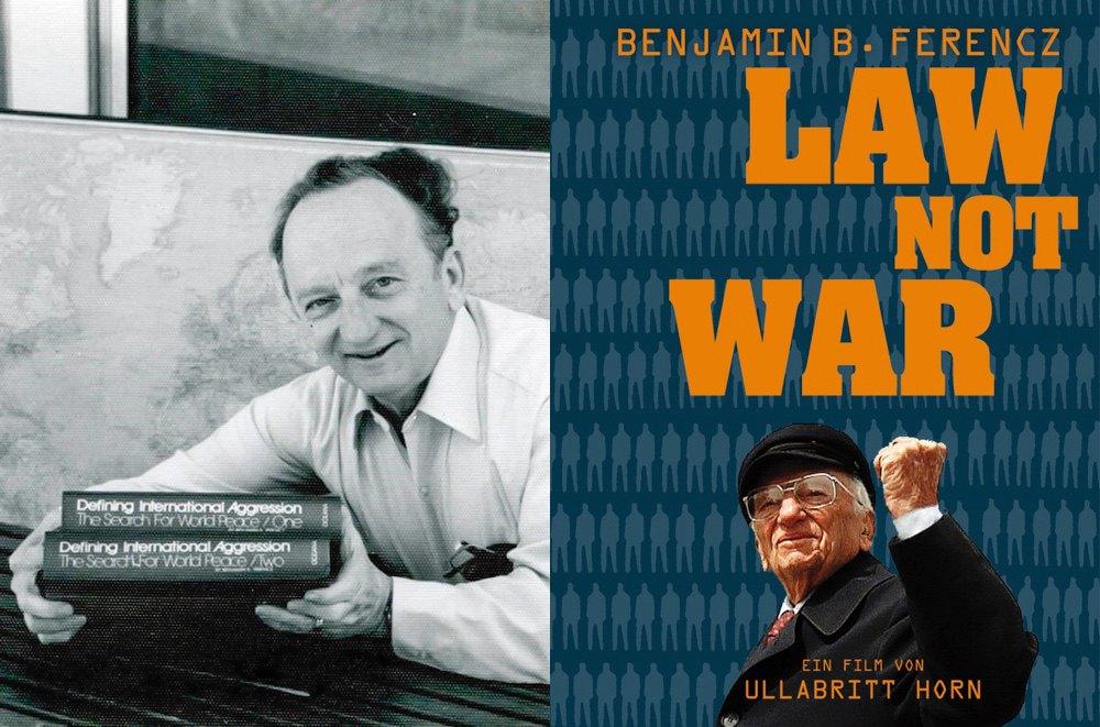 Бен Ференц со своими книгами(слева). Обложка книги «Закон, а не война».