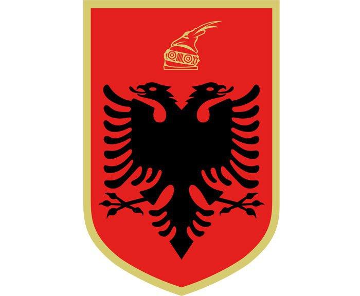 Герб Албанії. Чорний двоголовий орел та шолом князя Скандербега
