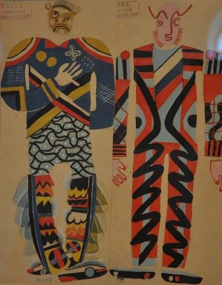 """Ескізи костюмів двох чортів-гостей до спектаклю """"Марко в пеклі"""" за п'єсою І. Кочерги. 1928. Папір, гуаш. 39х30,5"""