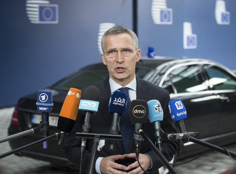 Генсек НАТО Єнс Столтенберг виступає перед засіданням Ради ЄС з питань оборони, Брюссель, 18 травня 2017 р.