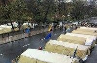 В палаточном городке у Рады остаются несколько десятков человек