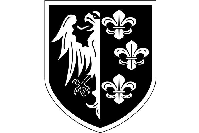 Емблема 33 гренадерської дивізії СС «Шарлемань». Варіація на тему гербів Королівства Франції та міста Франкфурт-на-Майні.