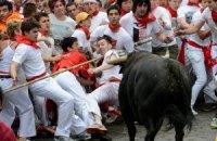 В забеге быков в испанской Памплоне пострадали три человека