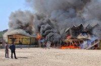 На пляже в Одессе загорелся ресторан