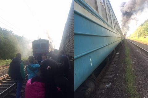 Возле Фастова загорелась электричка Жмеринка - Киев