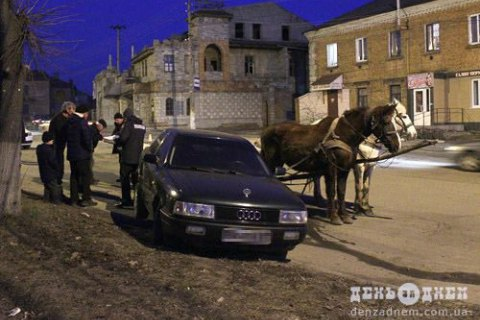 В Хмельницкой области мужчина угнал повозку лошадей и врезался на ней в припаркованную машину