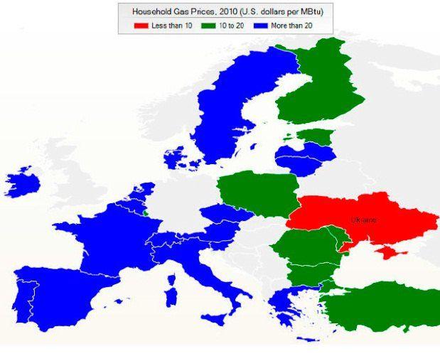 В Украине - самые низкие цены на газ в регионе для домохозяйств