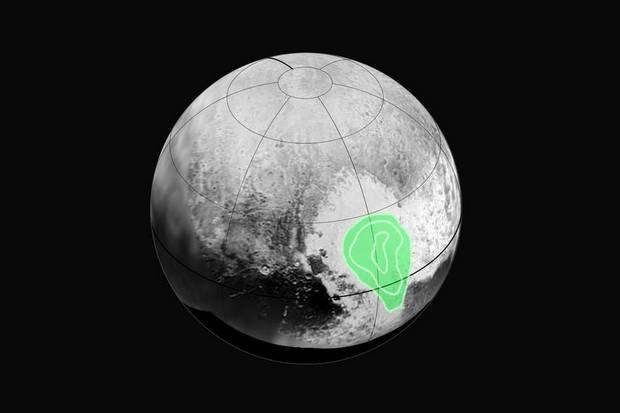 Карта распределения льда из монооксида углерода на Плутоне