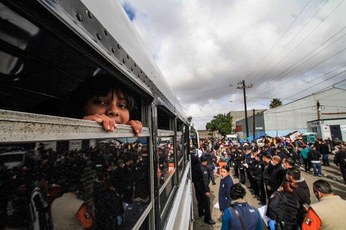 Поезд с мигранты из Центральной Америки, которые направляются в США, Тихуана, Мексика.