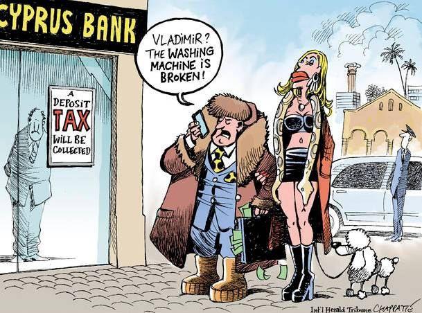 Слева - кипрский банк, на вывеске сообщение о налоге на депозите. По центру мужчина говорит по телефону: Владимир? Стиральная машина поломалась!