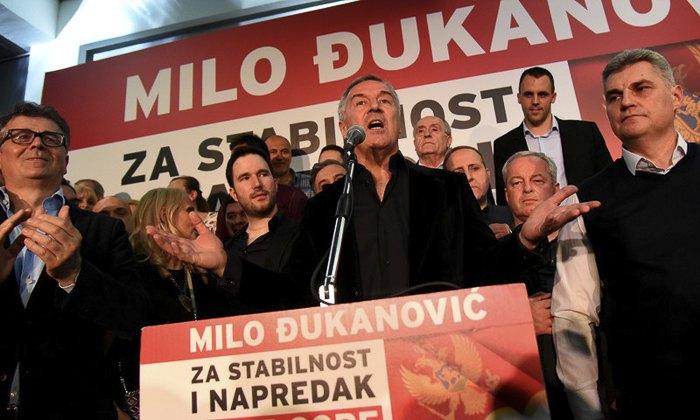 Джуканович празднует победу на выборах, 15 апреля 2018