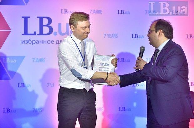Главный редактор Lb.ua Олег Базар (справа) и директор политических программ Институт Горшенина Евгений Курмашов