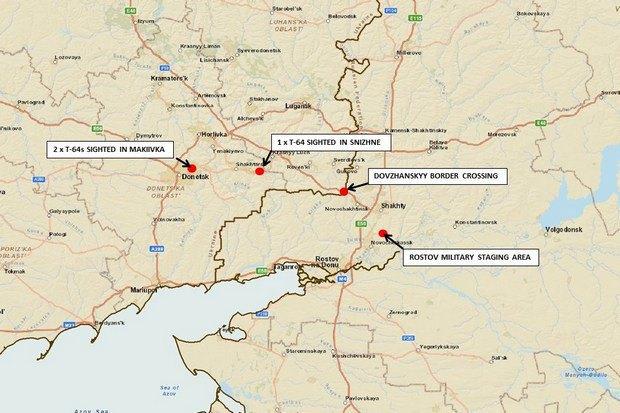 """На карте обозначено, где были зафиксированы танки сепаратистов, пункт пропуска """"Довжанский"""" и военная стоянка под Ростовом"""
