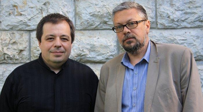 Алексей Ботвинов и Михаил Шишкин во время фестиваля Odessa Classics, 8 июня 2021 г