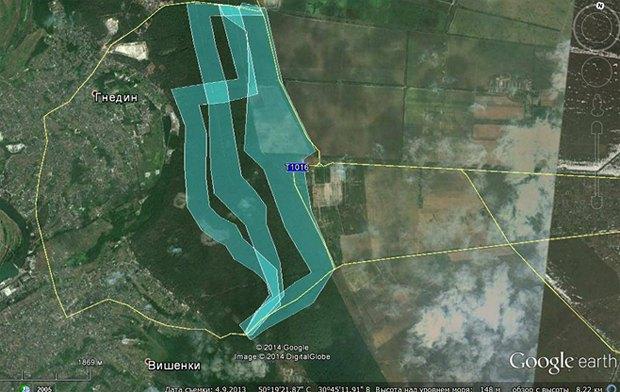Карта пошуку. Маршрут «Трикутник між Гнідином і Вишеньками»