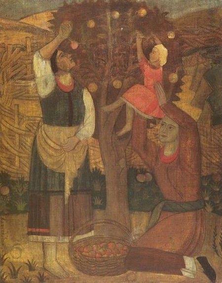«Біля яблуні», 1928. Темпера, дошка.
