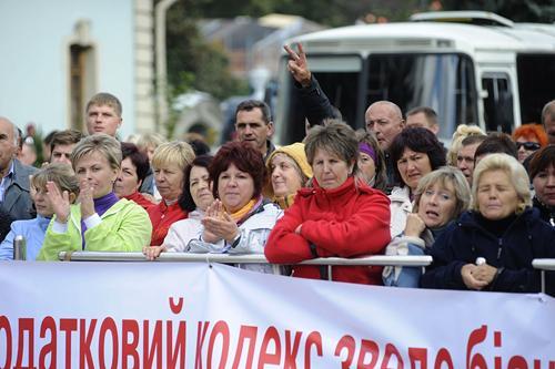 Представители малого и среднего бизнеса на акциях протеста против Налогового кодекса