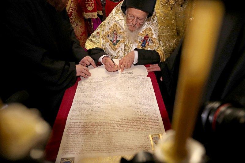 Патриарх Варфоломей подписал Томос 5 января