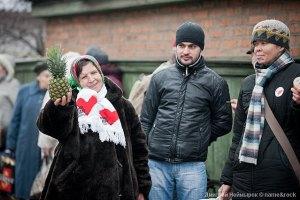 Сторонники Тимошенко пришли поддержать ее в Старый Новый год