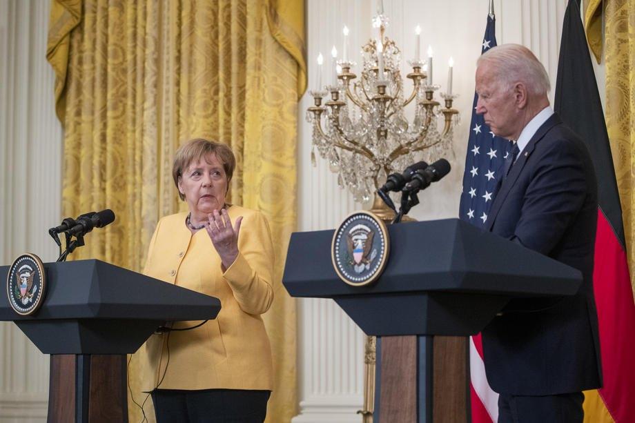 Джо Байден та Ангела Меркель під час спільної пресконференції після зустрічі в Білому домі, Вашингтон,15 липня 2021 р.