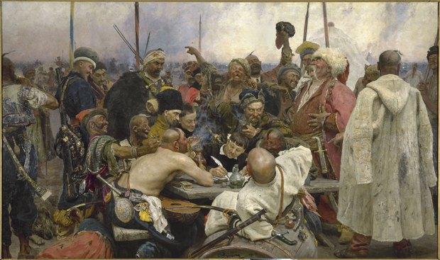 Ілля Рєпін «Запорожці пишуть листа турецькому султану», 1880-1891. Козака, того, що у високій смушковій шапці, біля писаря, Рєпін писав із Тарновського-молодшого