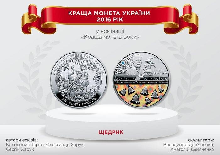 НБУ визначив найкращі монети року: «Щедрик» напершому місці