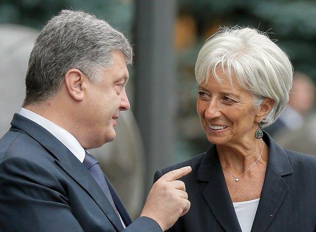 Президент Петр Порошенко и глава МВФ Кристин Лагард во время встречи в Киеве