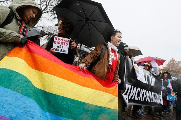 Акция ЛГБТ под Радой
