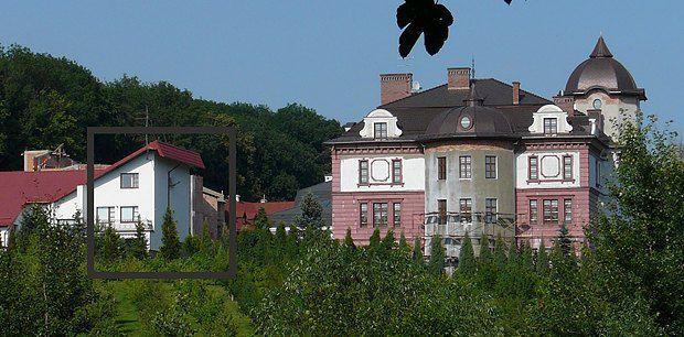 Кут будинку Дубневича, який він показав по телебаченню, поряд палац, який Дубневич не ризикнув показувати виборцям
