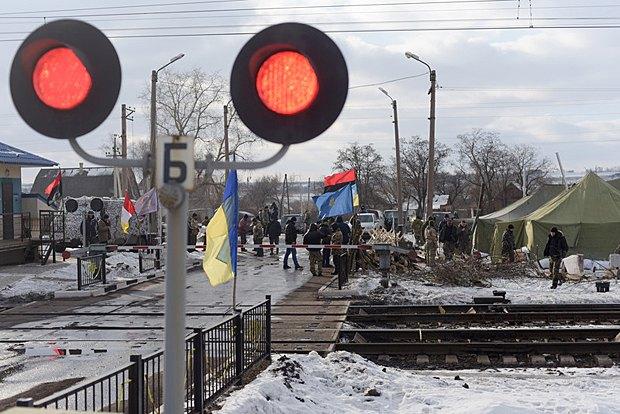 Блокада активистами жд сообщения в Константиновке