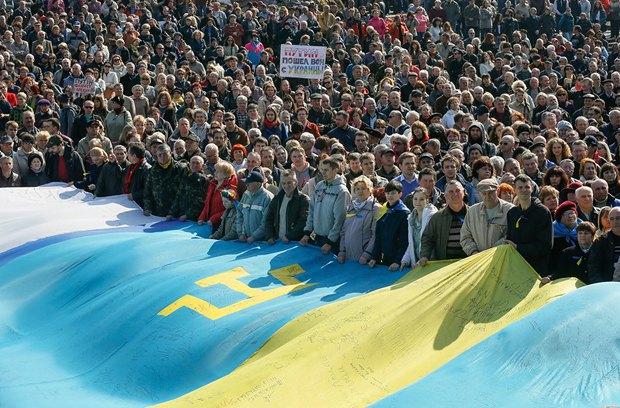 Акция в поддержку крымских татар на площади Независимости в Киеве в 2014 году