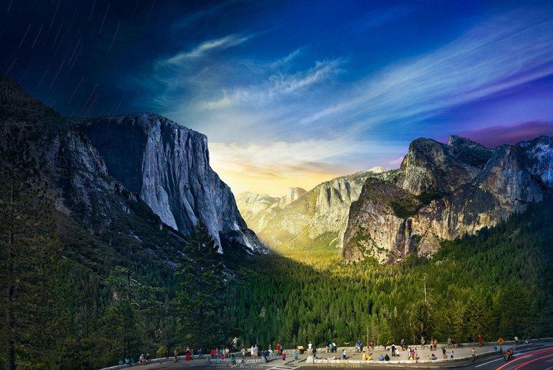 Чтобы воссоздать переход дня в ночь фотограф Стивен Вилкес в течение 26 часов сделал 1036 фотографий, Национальный парк Йосемити, США.