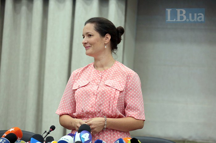 Зоряна Скалецька під час першої зустрічі з журналістами