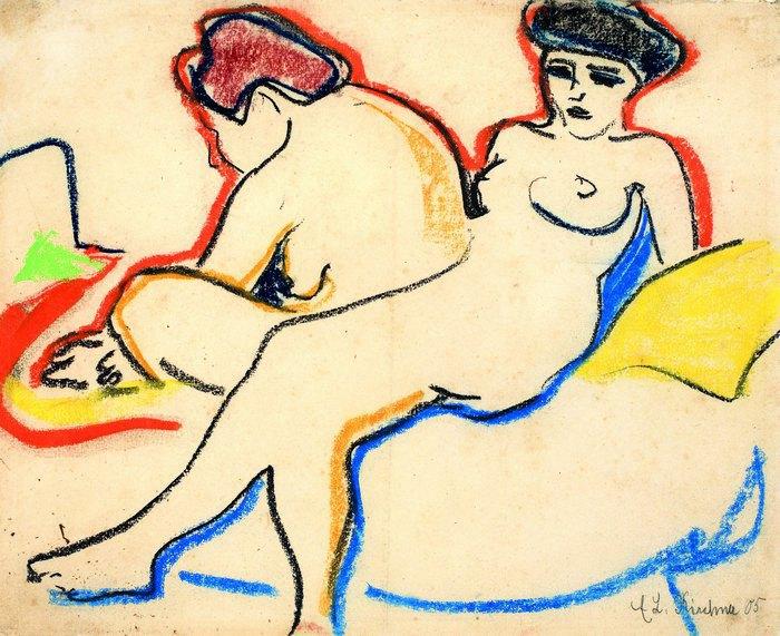 """Ернст Людвіг Кірхнер, """"Дві оголені на ліжку (Дві фігури)"""", прибл. 1907-1908"""
