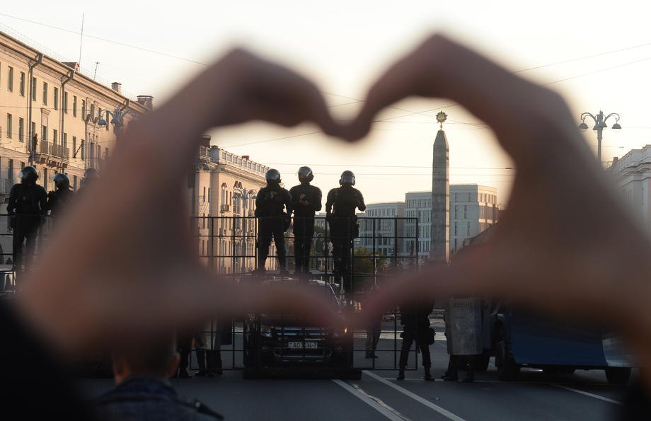 Во время очередного протеста в Минске, 20 сентября 2020 г.