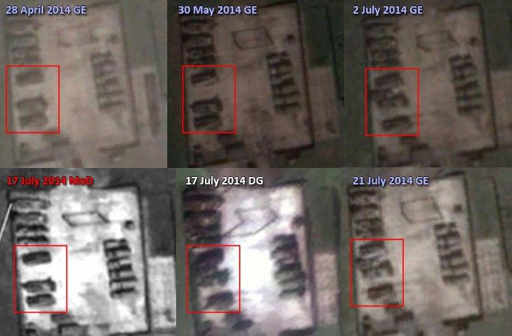 На спутниковых снимках Google Earth от апреля и мая 2014 г. машины находятся в том же положении, что и на снимке МО РФ, а на снимках Google Earth от 2 и 21 июля 2014 г. они в том же положении, что и на снимке Digital Globe