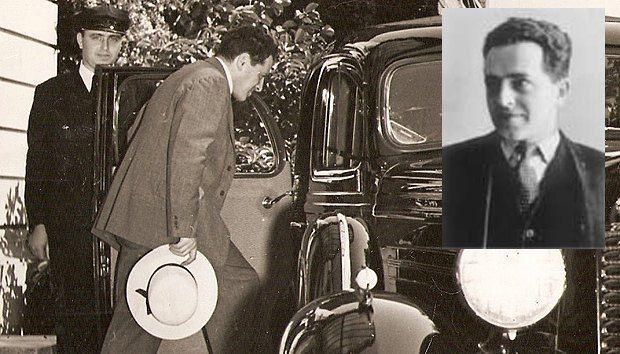 Уманский садится в машину. Снимок сделан в Вашингтоне у Советского посольства в 1940 году.