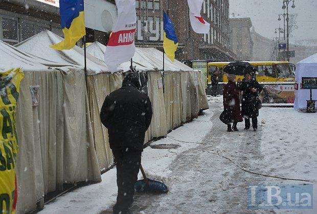 Сторонников Юлии Тимошенко не пугают ни дождь, ни холод