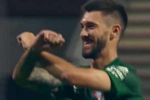 """Игрок """"Эспаньола"""" отметил свой гол в ворота """"Зари"""" жестом-символом """"Шахтера"""""""