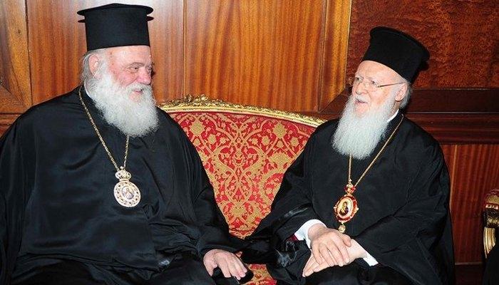 Глава Элладской Церкви Архиепископ Афинский и всей Греции Иероним II и Патриарх Варфоломей
