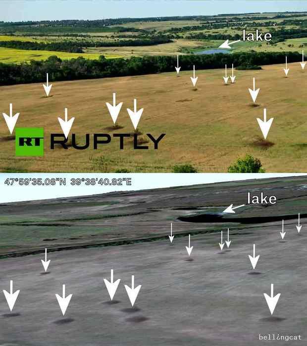 Сравнение кадры с видео Ruptly и спутникового изображения Google Earth от 15 августа 2014 года