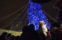 В Киеве зажгли огни на главной елке страны