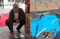 """Зірку Луческу біля """"Донбас Арени"""" облили синьою фарбою"""